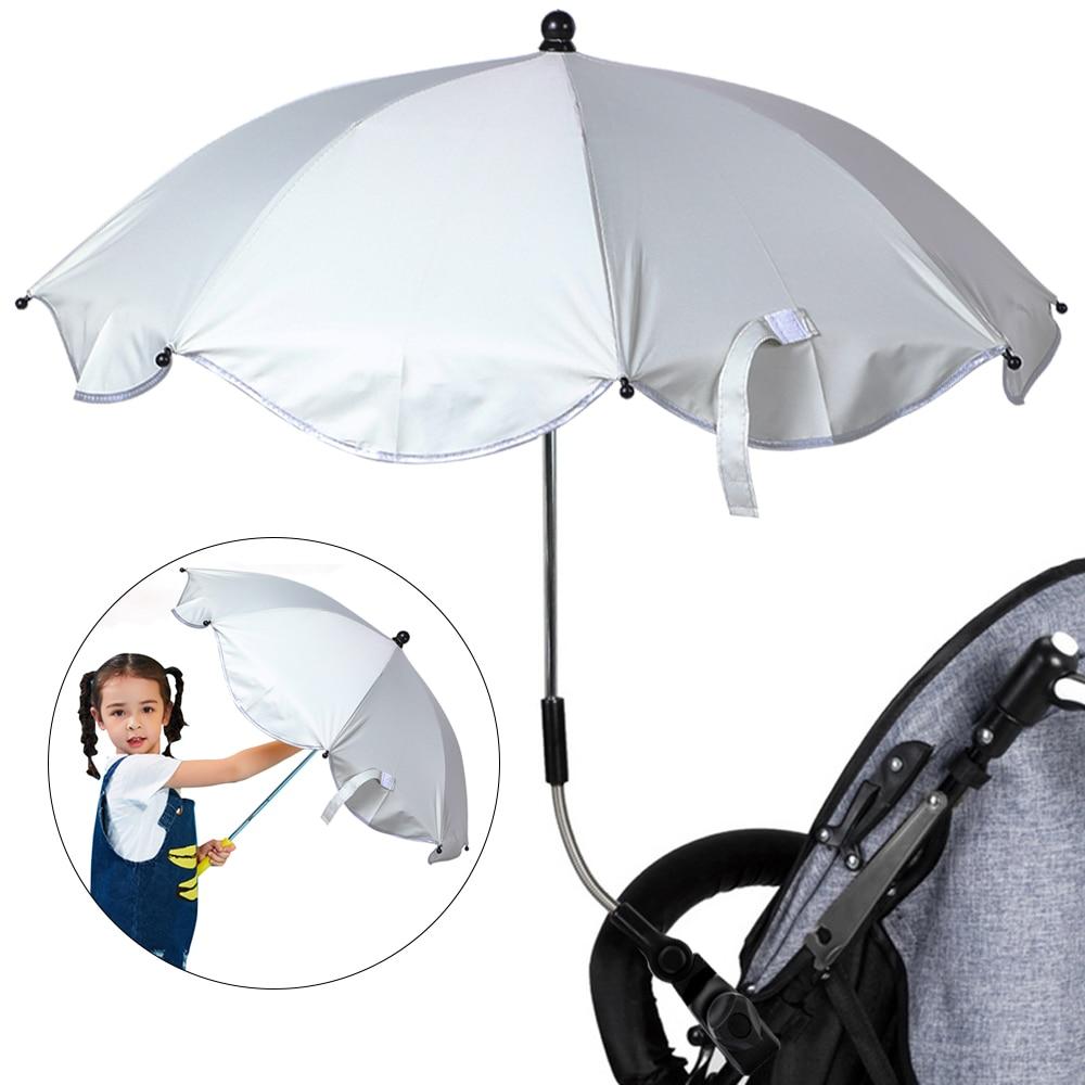 Sombrilla de cochecito de bebé ajustable, cubierta de sol, soporte de soporte elástico de 360 grados, sombrillas para cochecito de bebé, accesorios
