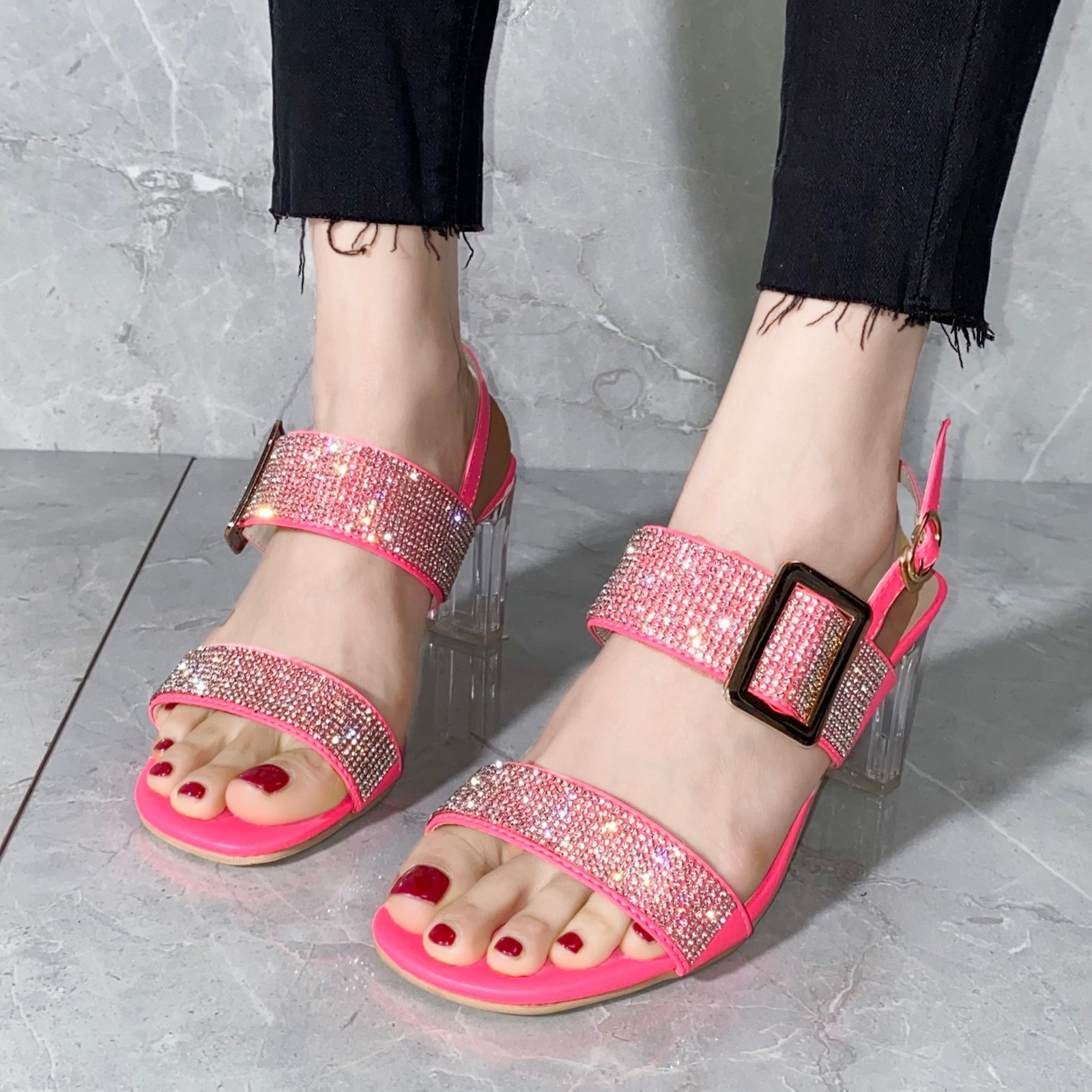 Womens slippers fashion mid-heel sandals and rhinestone thick-heel transparent comfortable trend hot selling