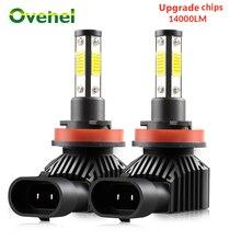 OVEHEL H7 светодиодный фар автомобиля 4 стороны 360 градусов светодиодный 14000LM H8 H9 H11 светодиодный фар BulbHB3 9005 HB4 9006 Автомобильные фары лампы 6000K