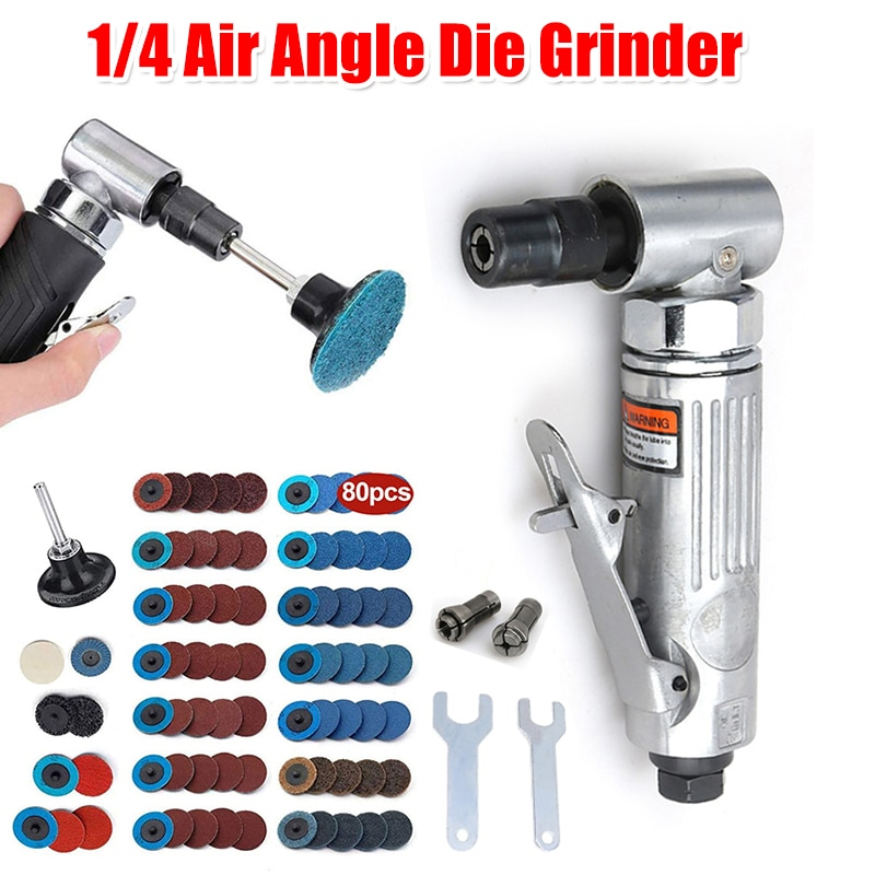 3mm 90 degree angle air die grinder micro grinder pneumatic polisher tool set abrasive tool for metal polishing 1/4 Air Angle Die Grinder 90 Degree Pneumatic Grinding Polisher Mini Portable Mill Engraving Machine with Sanding Discs Tool Set