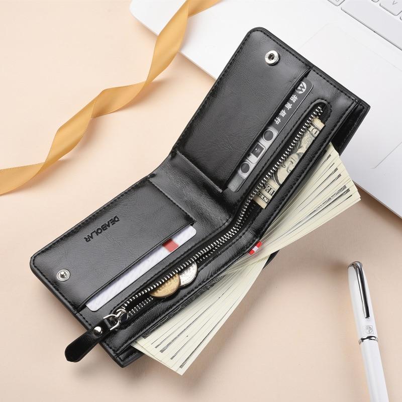 Fashion Luxury Leather Brand  Bilfold Men Wallet  with Coin Bag Zipper Small Money Purses  Dollar Sl