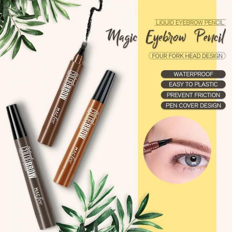 4 Colors Fork Tip Eyebrow Tattoo Pen Microblading Liquid Eyebrow Pencil Waterproof Fine Sketch Eye Brow Tattoo Tint Pen TSLM1