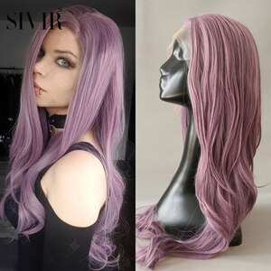 Sivir  Long/short wavy Synthetic  wigs For Women  Pink Purple Color Party/Daily/Cosplay  Part Lace wig High Temperature Fiber