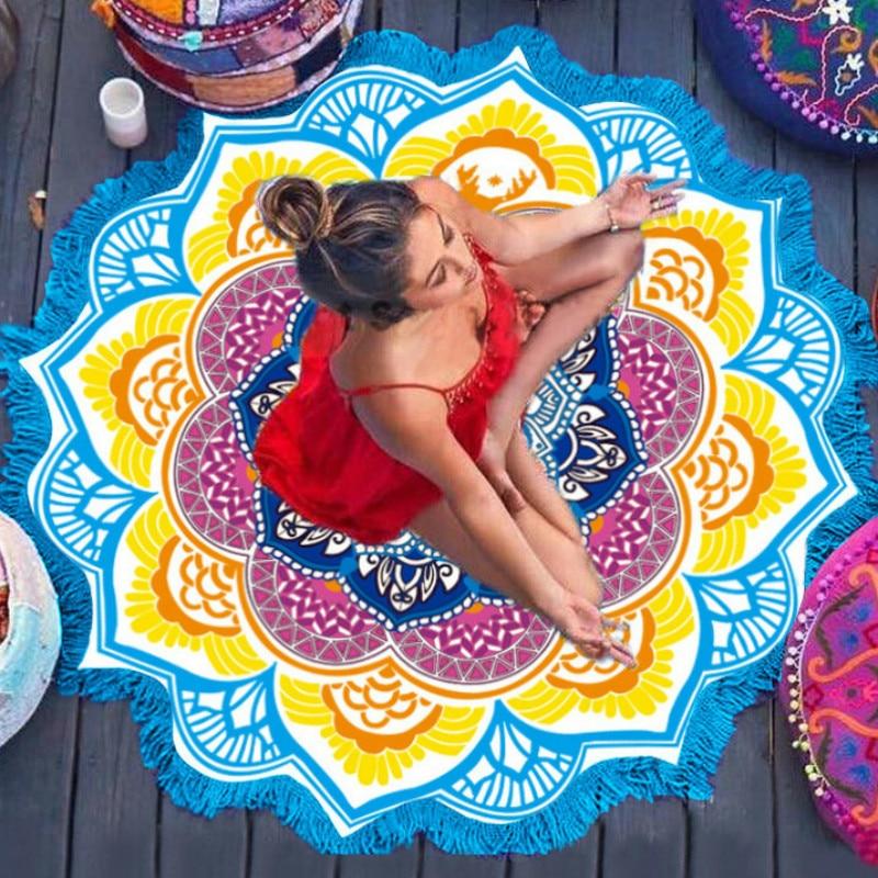 150*150 CM Pilates Yoga Fitness Matte Sommer Strand Indische Mandala Tapisserie Pfau Gedruckt Tapete Sonnencreme Runde Abdeckung-decke