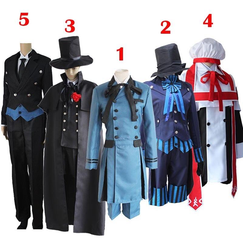 Negro Butler 2 Kuroshitsuji Ciel Phantomhive Niño Azul traje de Lolita Anime Unisex Cosplay traje conjuntos