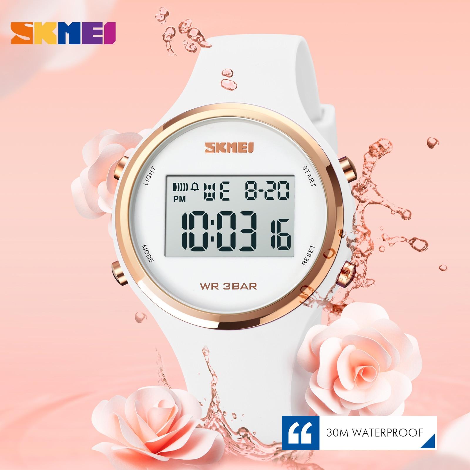 SKMEI العلامة التجارية النساء LED عرض الكهربائية ساعة موضة كرونو المنبه ساعة رقمية امرأة الأرجواني الأسود Wirstwatch Reloj Mujer 1720