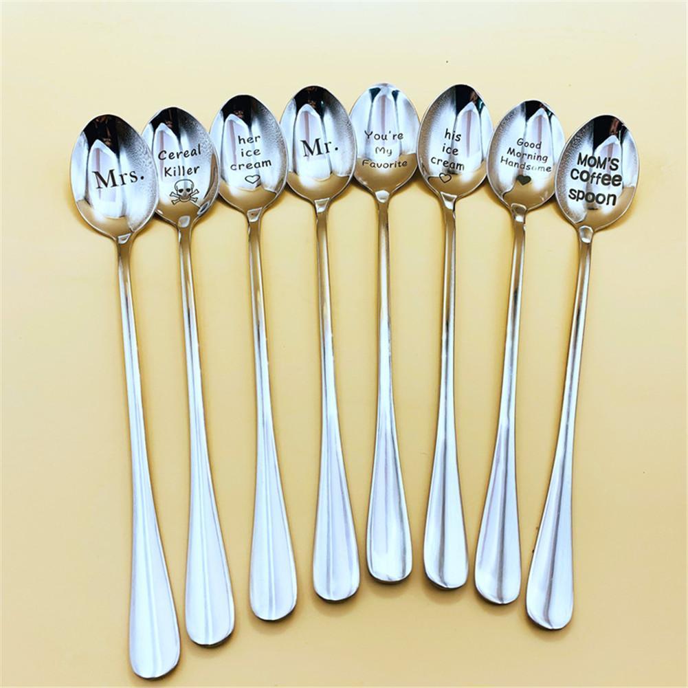 Cucharilla de café con letra grabada, de 19cm, con mango largo, cucharilla original de letra de acero, cuchara para postre, aperitivo, cuchara para helado