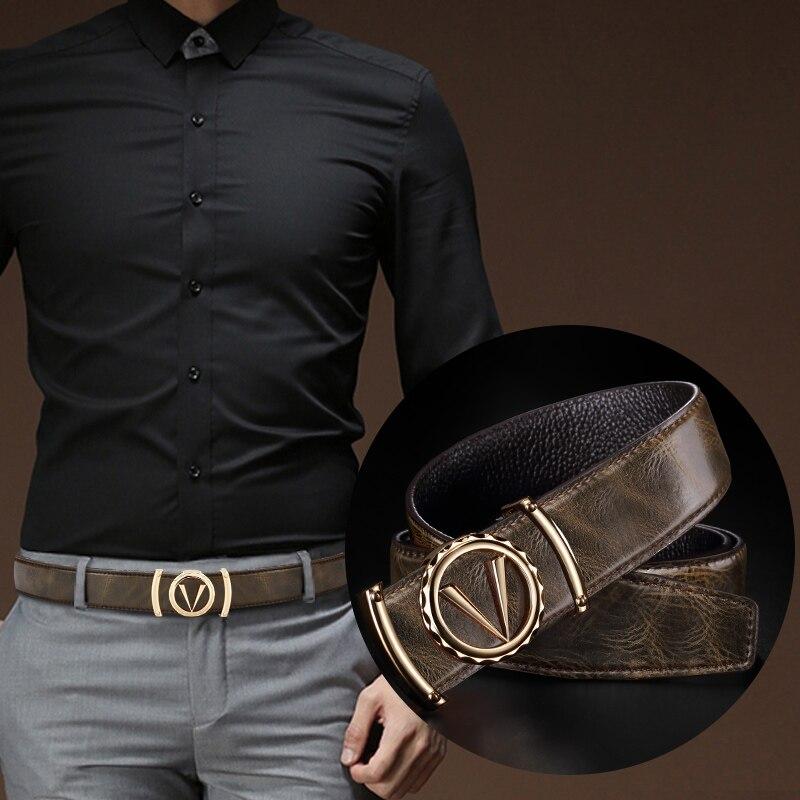 New Designer Mens Luxury Belt Genuine Leather Alloy V Buckle Waist Classic Exquisite Belts High quality fashion Ceinture Homme