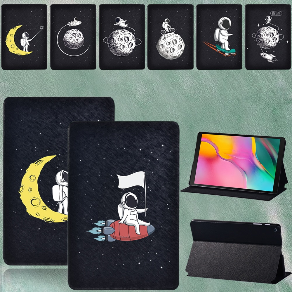 For Samsung Galaxy Tab A T290 T295 2019 8.0 Inch PU Leather Astronaut Series Pattern Tablet Protective Case Cover + Free Stylus