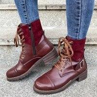 plus size 42 43 new womens short booties medium heel lace up belt buckle women martin boots 2021 autumn winter female high heels