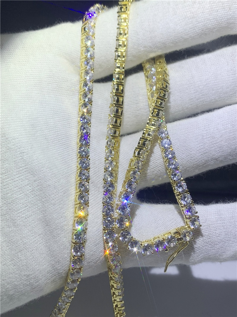 3 Colors Hiphop Tennis Necklace 4mm AAAAA Cz Silver Color Party Wedding Necklace for women Men Lovers Fashion Diamond Jewelry