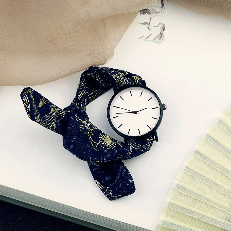 2020 Lady gift simple stylish watch Enmex strappy cotton watch chinese style fashion vertical lines black face quartz wristwatch enlarge