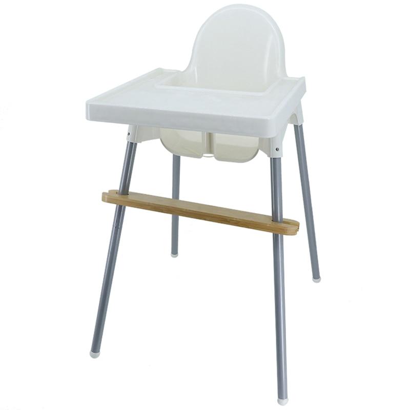 Reposapies de Bebe Footrest Baby Natural Bamboo Baby Highchair Foot Rest High Chair Footrest with Rubber Rings