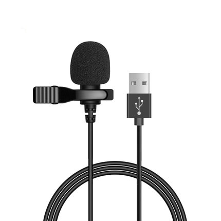 Portable USB Mini Microphone 1.5m Lapel Lavalier Mic Clip-on External Buttonhole Microphones for Laptop computer Recording Chat