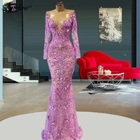 see through purple evening dresses 2021 plus size mermaid long sleeves beaded dubai arabic middle east celebrity party gowns