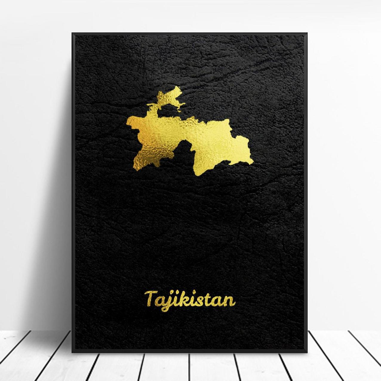 Golden Map Tajikistan Canvas Wall Art Print Modern Poster Wall Pictures Living Room Decor