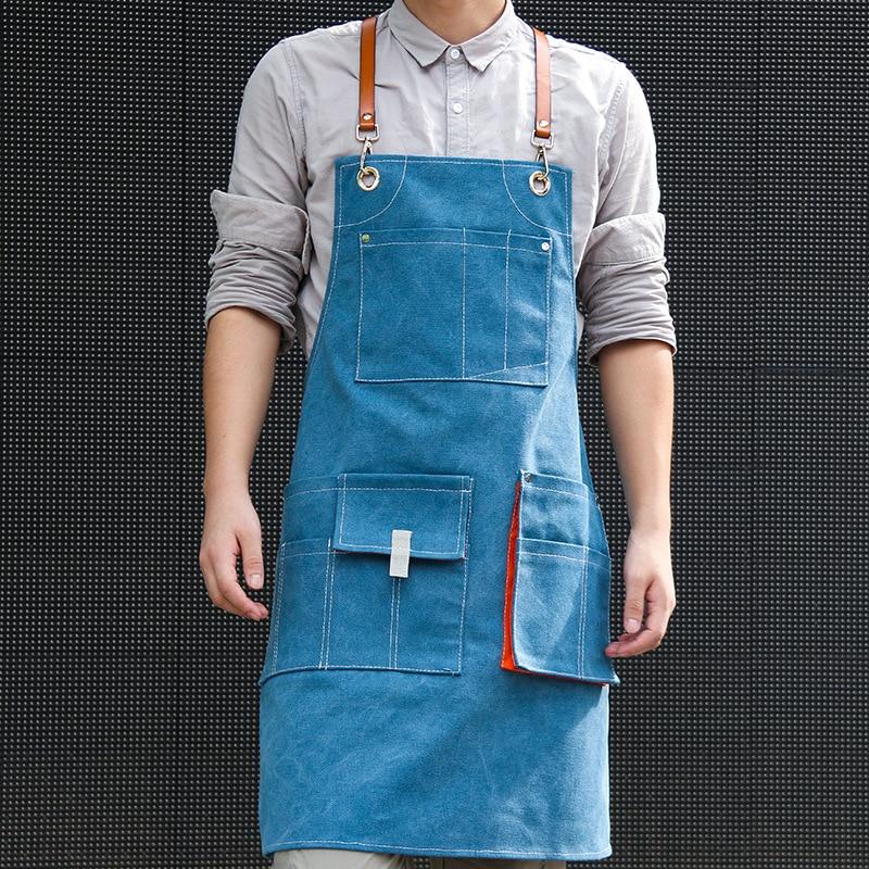 Denim Apron with Adjustable Belt Unisex Kitchen Aprons for Women or Men Aprons for Women with Pockets for Cooking enlarge