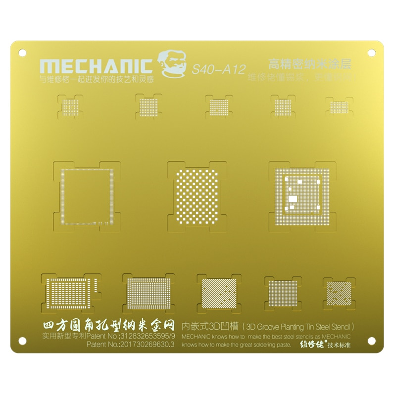 Plantilla de Reballing de ranura 3D mecánica A8 A9 A10 A11 A12, planta dorada de malla de estaño para iPhone 6 6S 6SP 7G 7P 8 8P X XS MAX XR S40