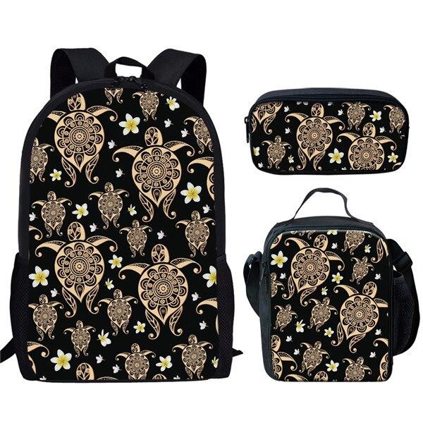 Unique Sea Turtle Print School Bag Set for Teen Boys Girls Elementary Student Primary Kids Schoolbag Child Bookbags
