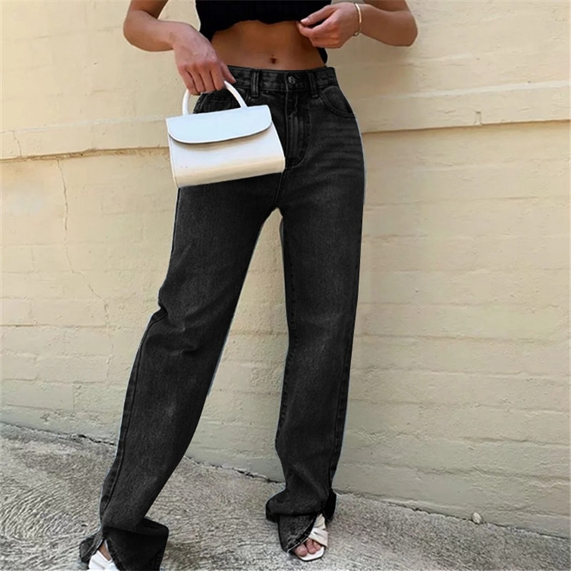 Hohe Taille Mode Split Jeans mit Taschen Frauen Herbst Winter Boden Länge Lange Flare Hosen Streetwear 2020