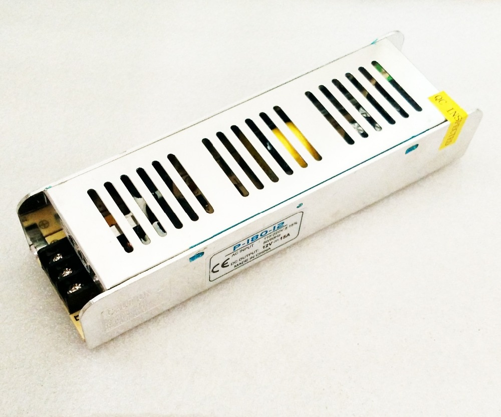 CA 110v 220V a para DC 12V 15 a 180W transformador de voltaje interruptor fuente de alimentación controlador adaptador para tira de luz LED