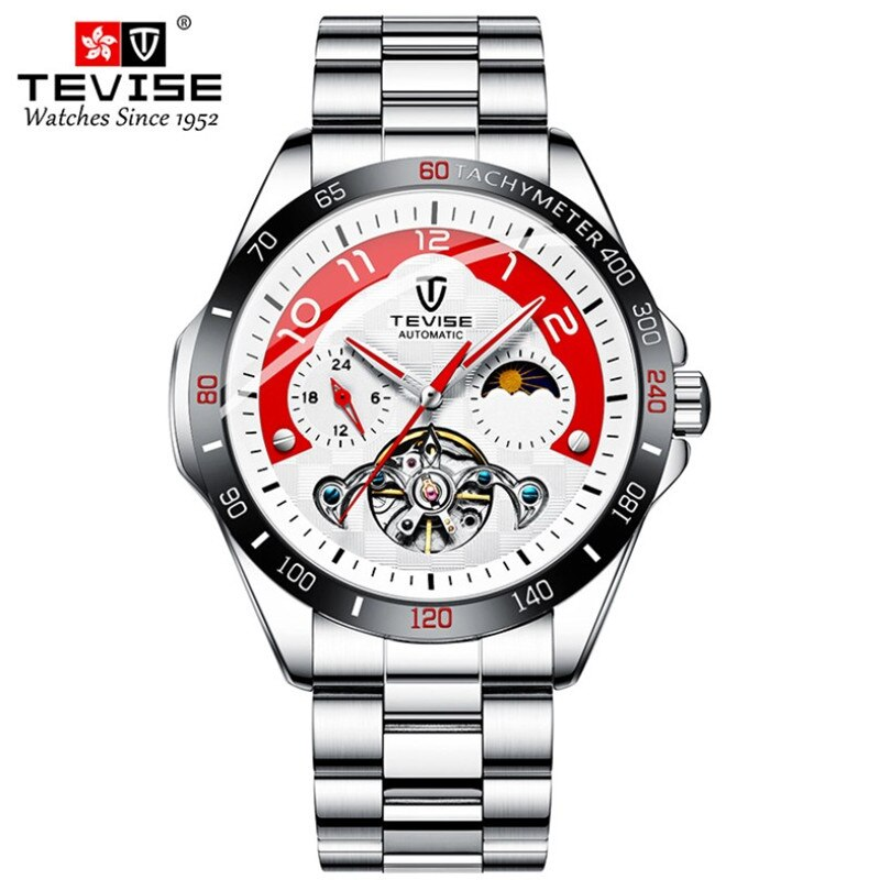 High quality Steel Strap Luxury Silver White male Tourbillon Mens Watches Automatic Mechanical Water
