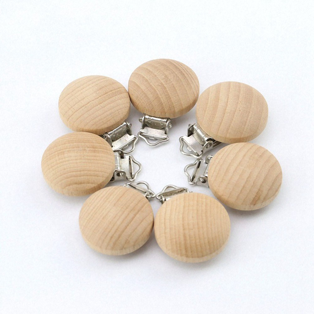 2/5pcs Baby Pacifier Clips Wooden Baby Pacifier Holder Infant Nipple Holder Dummy Clip Beads Soother Teether Feeding and Care