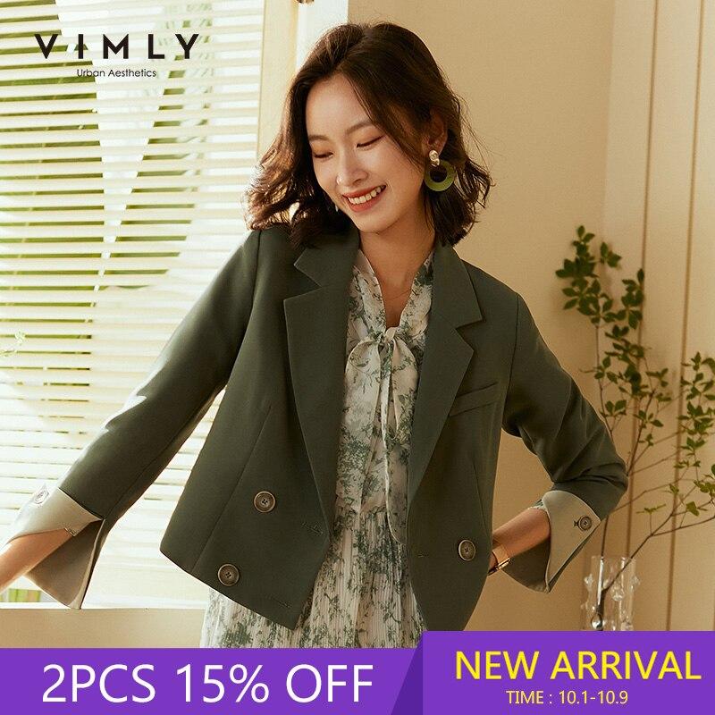 Vimly otoño mujer Blazer moda entallado sólido doble pecho Oficina señora traje femenino Chaquetas cortas F1602