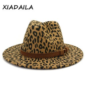 2020 fashion winter fedora hats for women Flat wide Brim Wool Felt Jazz Fedora Hats for men Leopard goth top vintage wedding Hat