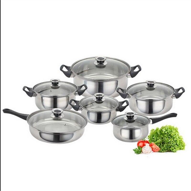 Cookware Set 12 Piece Kitchen Stainless Steel Cooking Pot & Pan Sets Induction Safe Saucepan Casserole pan Glass Lid Pans HWC
