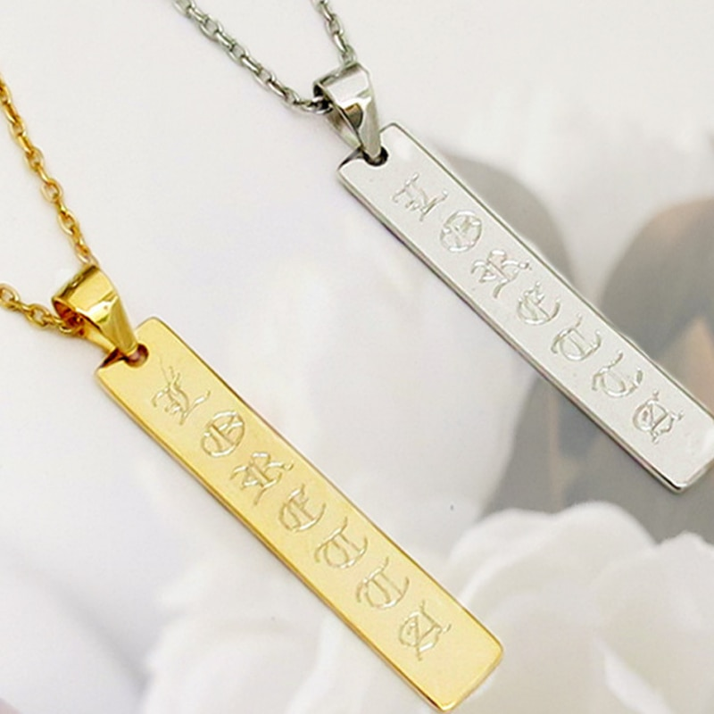 2019 custom name necklace gold nameplate ancient English necklace personalized jewelry silver chain collar Mujer birthday gift B wholesale rose name necklace with crystal decoration personalized silver nameplate pendent celebrity party jewelry gift