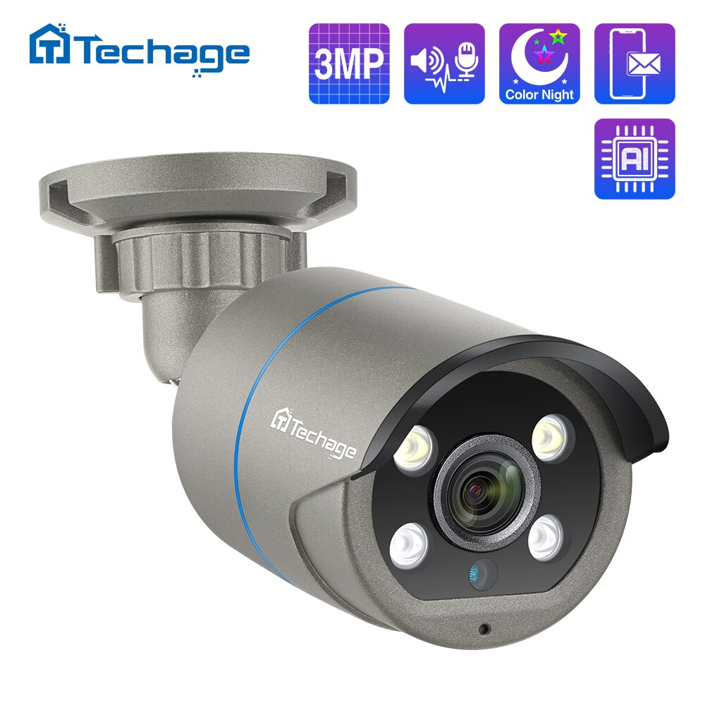 Techage 3MP 48 فولت POE IP كاميرا H.265 اتجاهين الصوت الأشعة تحت الحمراء في الهواء الطلق مقاوم للماء P2P CCTV الأمن مراقبة الفيديو AI كاميرا