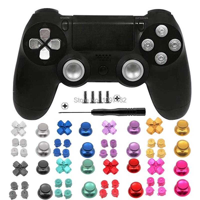 PS4 الإبهام قبضة معدنية الإبهام قبضة الألومنيوم استبدال ABXY رصاصة أزرار Thumbsticks كروم D-الوسادة لسوني بلاي ستيشن 4