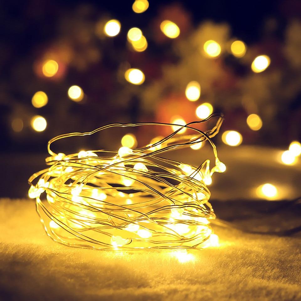 10 20 30LED Cadena de alambre de cobre ligero lámpara guirnalda festiva para exterior luz para guirnalda Navidad Fiesta hogar boda decoración