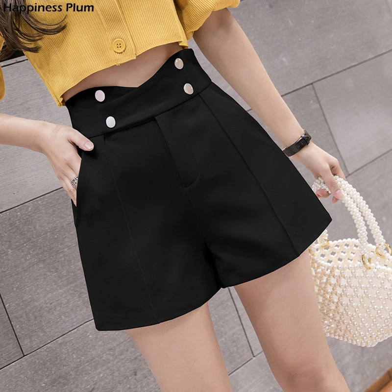 Ladies Shorts Korean High Waist Shorts 2021 New Women Casual Criss-Cross Double Breasted Wide Leg Loose Harajuku Shorts Feminino недорого