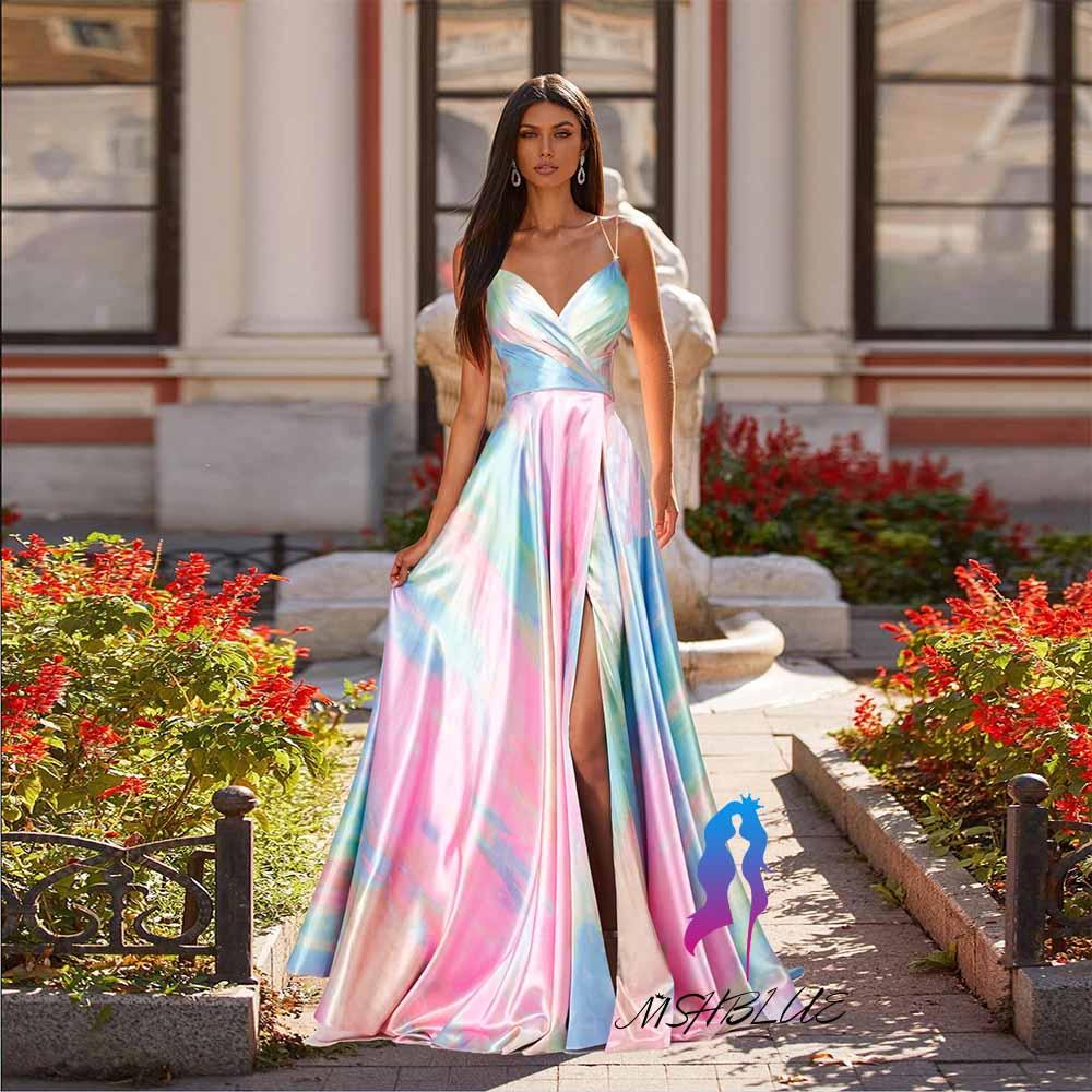 2021 Designer Sexy Colorful Printing Prom Dresses High Slit Straps Sleeveless Silk Satin Women Party