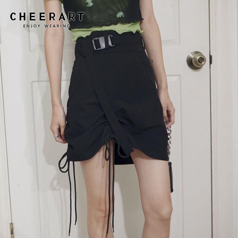 Cheerart preto verão envoltório cordão saia feminina 2020 cintura alta a linha mini saia miniskirt roupas de moda coreana