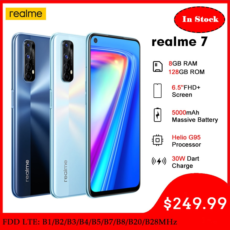 (RMX2155) Realme 7 Mobile Phone NFC Smartphone Helio G95 Octa Core  6.5''FHD 8GB -128GB 48MP Quad Cams 30W Dart Charge 5000mAh