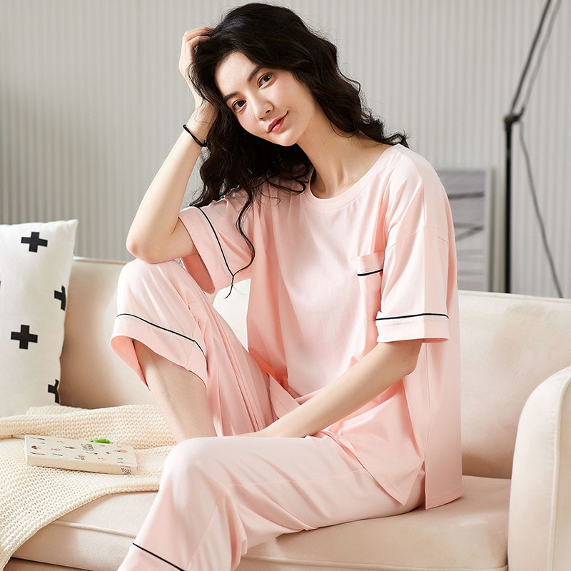 Womens pajamas plus size modal solid color womens summer short-sleeved cropped trousers loose simple thin suit