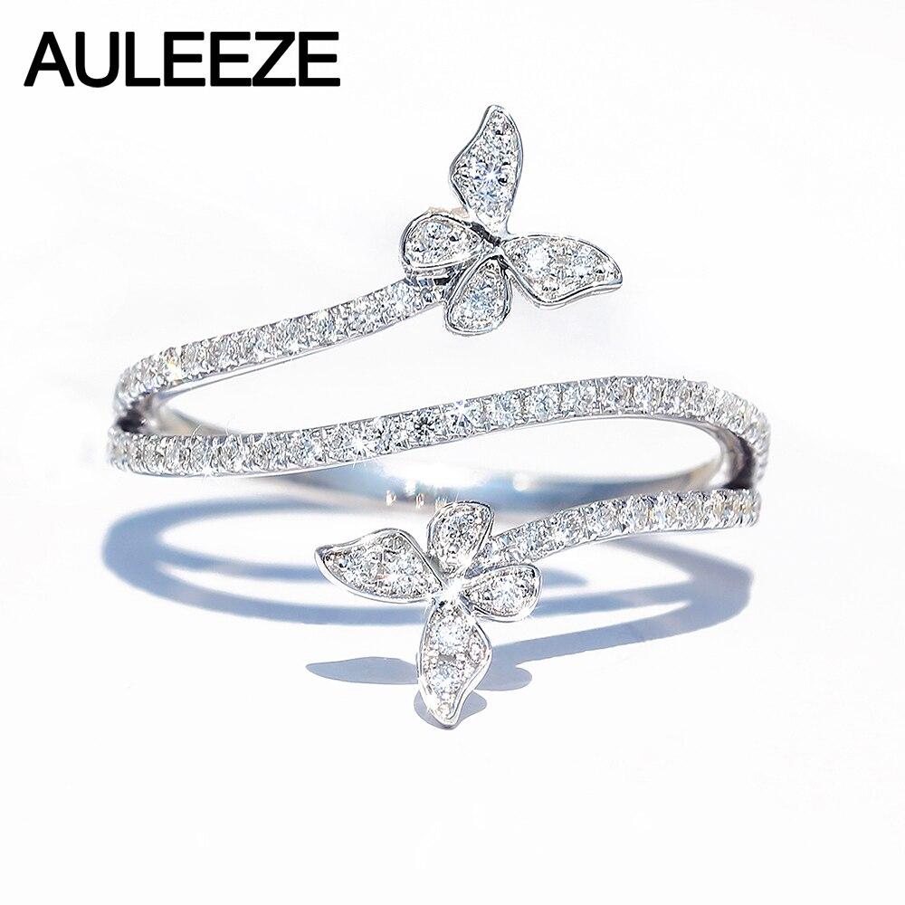 AULEEZE 18K anillo de diamante mariposa de oro blanco estilo lindo romántico AU750 anillo de Diamante Real