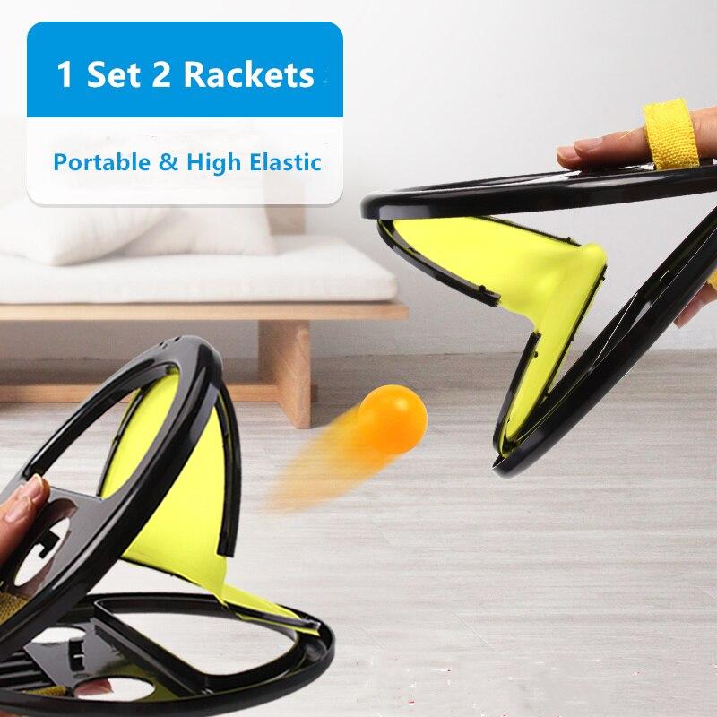2 raquetas 1 Juego de Pelota portátil deportivo para interiores o exteriores juguetes de tenis entrenador de entrenamiento con bolas de alta elasticidad Fitness en el hogar