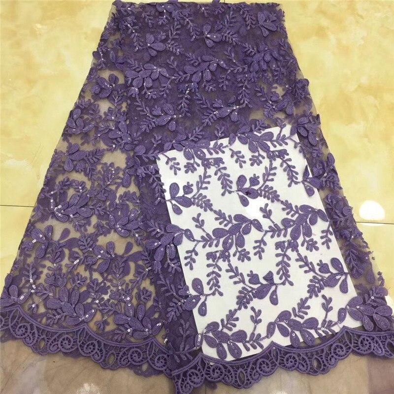 Lo último en tul nigeriano morado, telas de encaje de seda de leche, tul de alta calidad, tela de encaje africano, Material de encaje de tul francés para boda