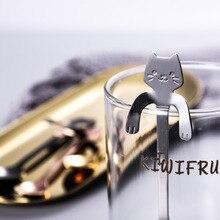 Cuchara de café de acero inoxidable, cuchara de té bonita forma de gato, postre, aperitivos, helado, Mini vajilla de cucharas, dispositivo de cocina