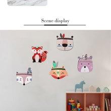 Kinder Zimmer Dekorationen Nordic Stil Holz Kunststoff Bord Ornamente Cartoon Tier Kopf Wand Decor Kinder Geschenk
