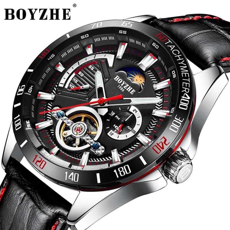 Fase da Lua Mecânicos dos Homens Pulseira de Couro Relógios de Pulso Moda Boyzhe Relógios Tourbillon Automático Masculino Relógio Wl024