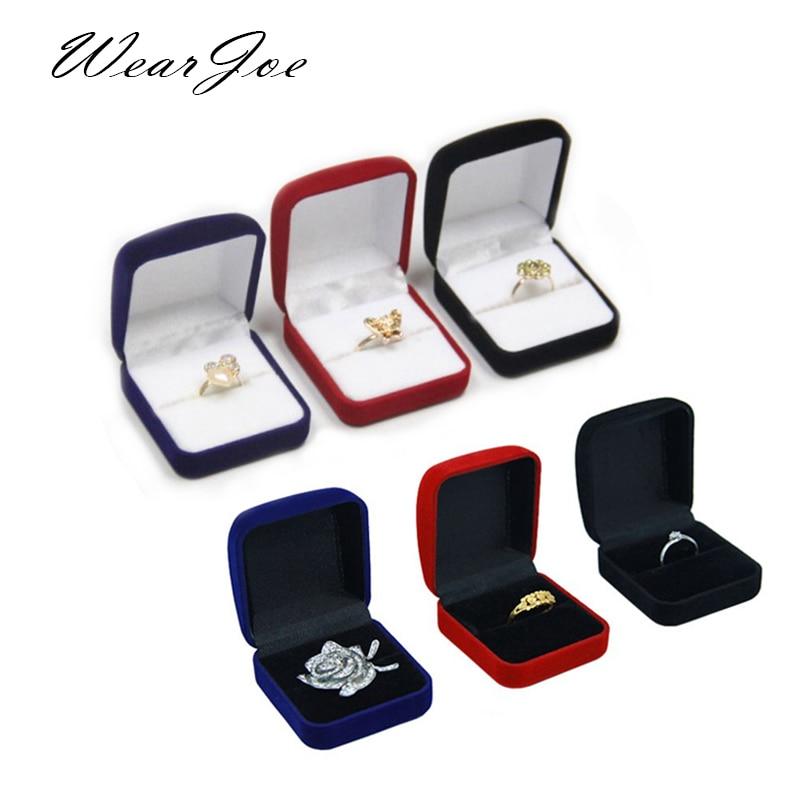 Caja de embalaje de anillo de compromiso a granel, caja de regalo de San Valentín de terciopelo, anillo de boda, escaparate organizador de joyería, caja de almacenamiento para pendientes