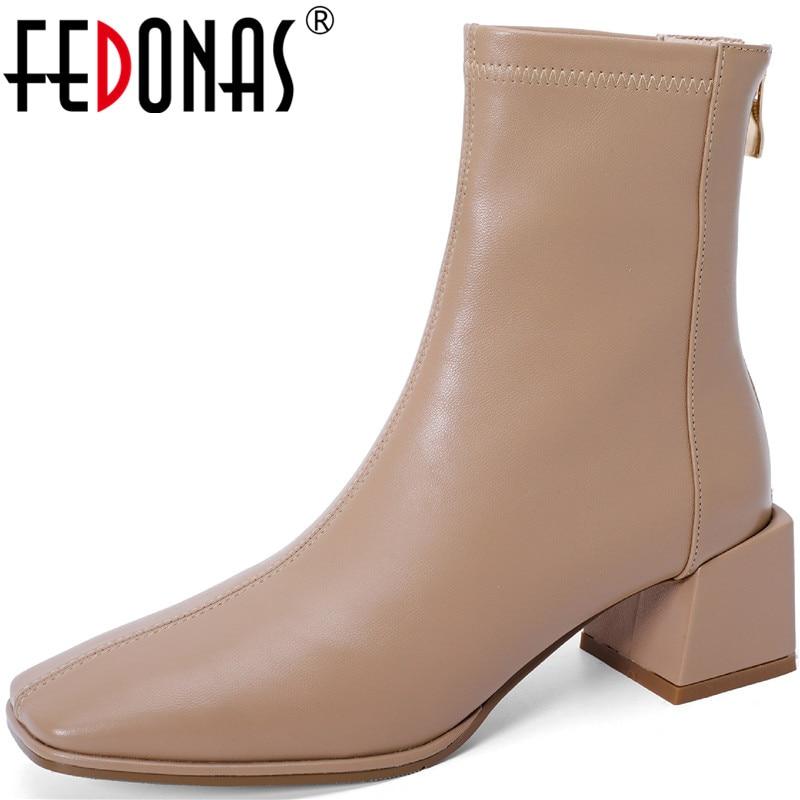 FEDONAS-أحذية جلدية كلاسيكية كلاسيكية مع سحاب خلفي للنساء ، أحذية مكتبية شتوية ريترو ، جلد طبيعي ، خريف وشتاء 2021