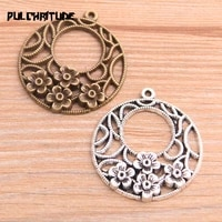 4pcs 3438mm 2020 new product two color round hollow flower charms plant pendant jewelry metal alloy jewelry marking