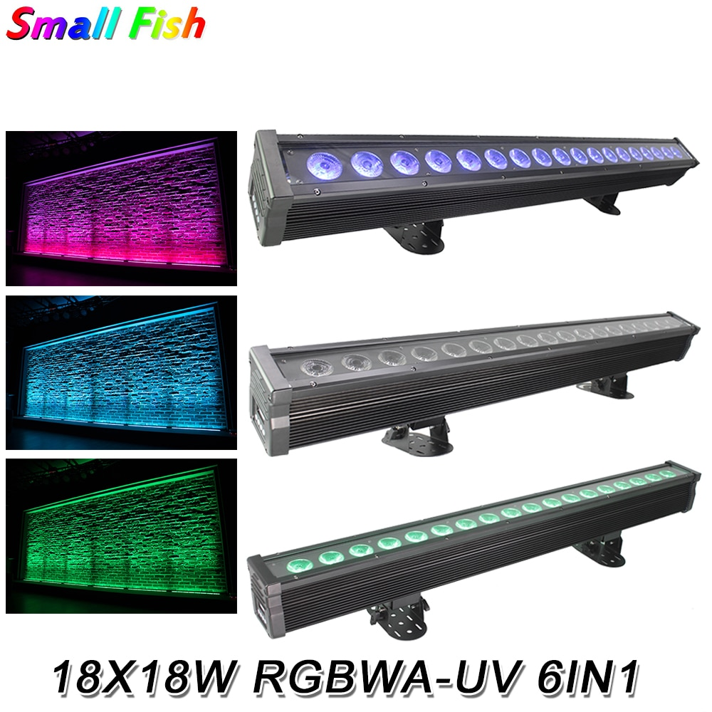2020 New Arrival 18X18W RGBWA-UV 6IN1 LED Bar Wall Washer Lights IP65 DMX512 Washer Floodlights Dj Bar Party Show Stage Lighting