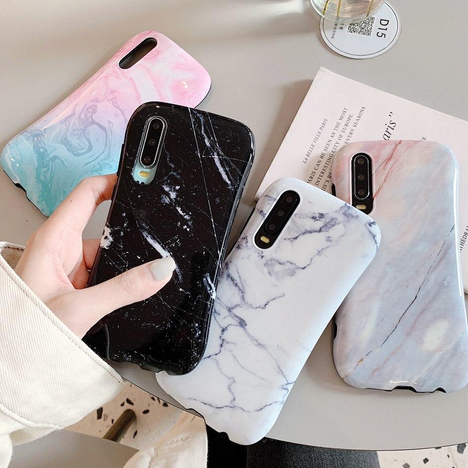 Funda para Huawei P40 Pro, funda de silicona de cintura pequeña con soporte de mármol para Huawei P20 P30 Mate 20 Pro, funda para Honor 20 9X